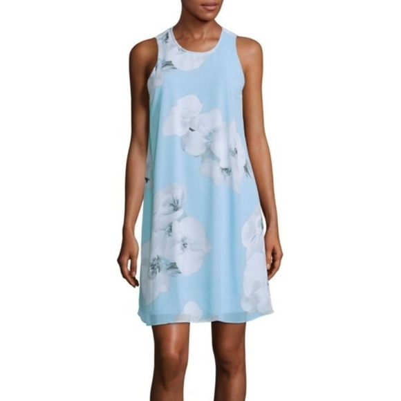 f1f319583a20 Calvin Klein Dresses & Skirts - Calvin Klien Blue Floral Chiffon Trapeze  Dress